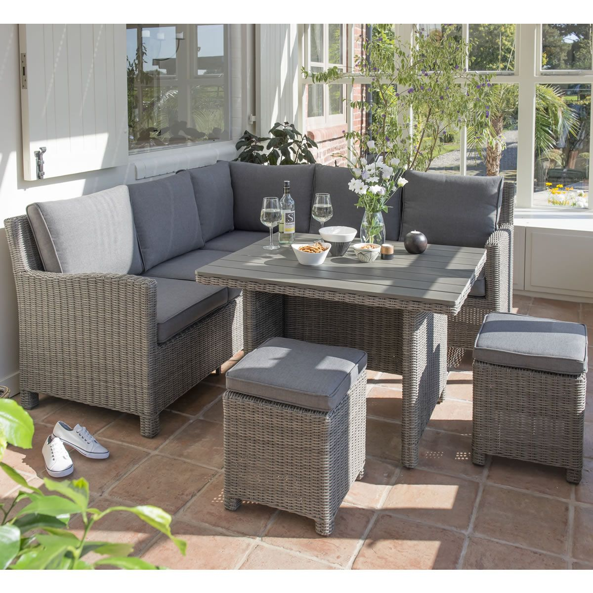 Kettler Palma Mini Corner Set Rattan (Slat Top Table