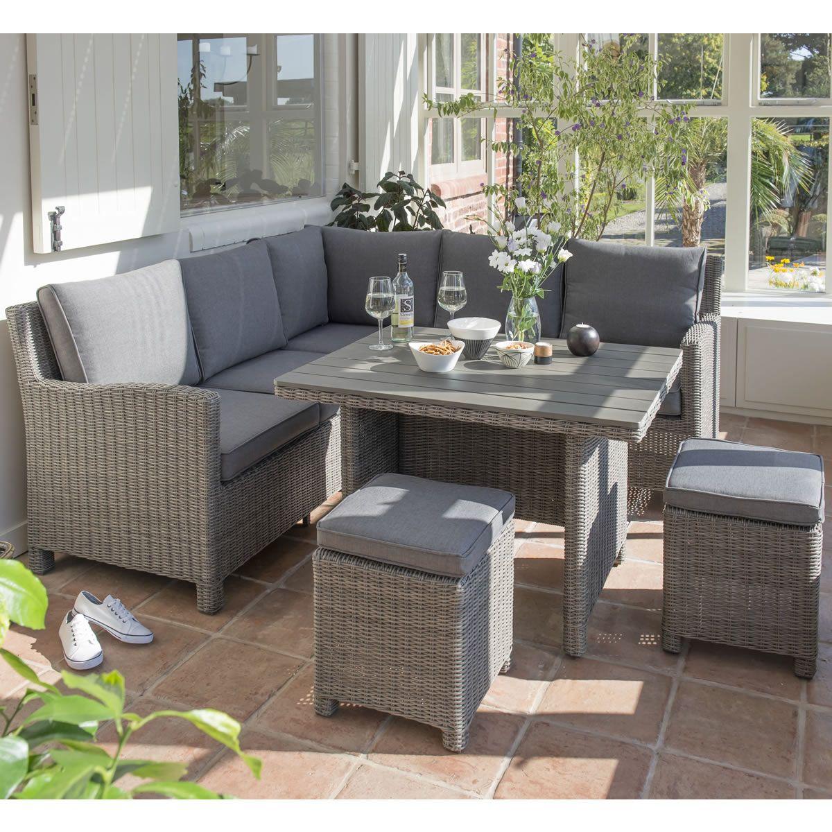 Kettler Palma Mini Corner Set Rattan With Taupe Cushions   (0193335 2100C)    Garden Furniture World
