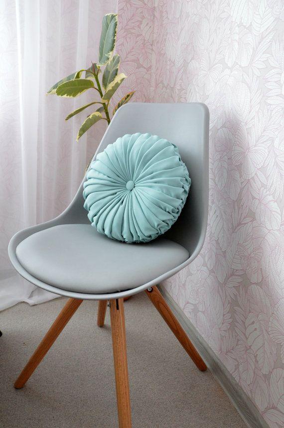 Handmade Round Pillow Pintuck Decorative Teal By Sonjasusanna