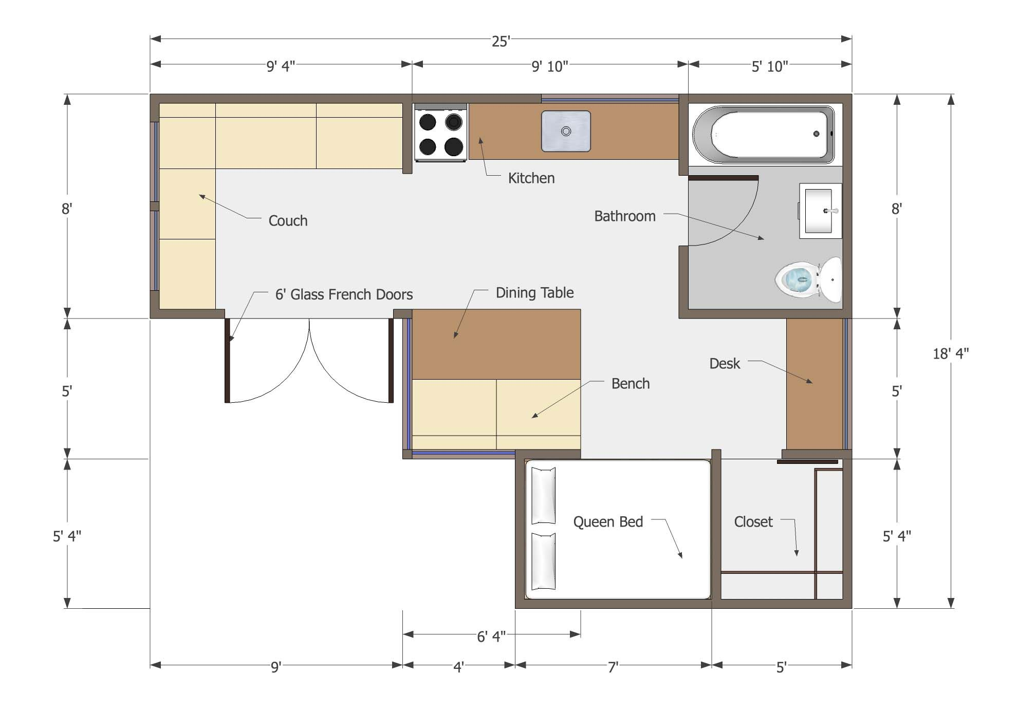 Small l shaped house 350 sq ft floor plan titus L shaped building floor plan