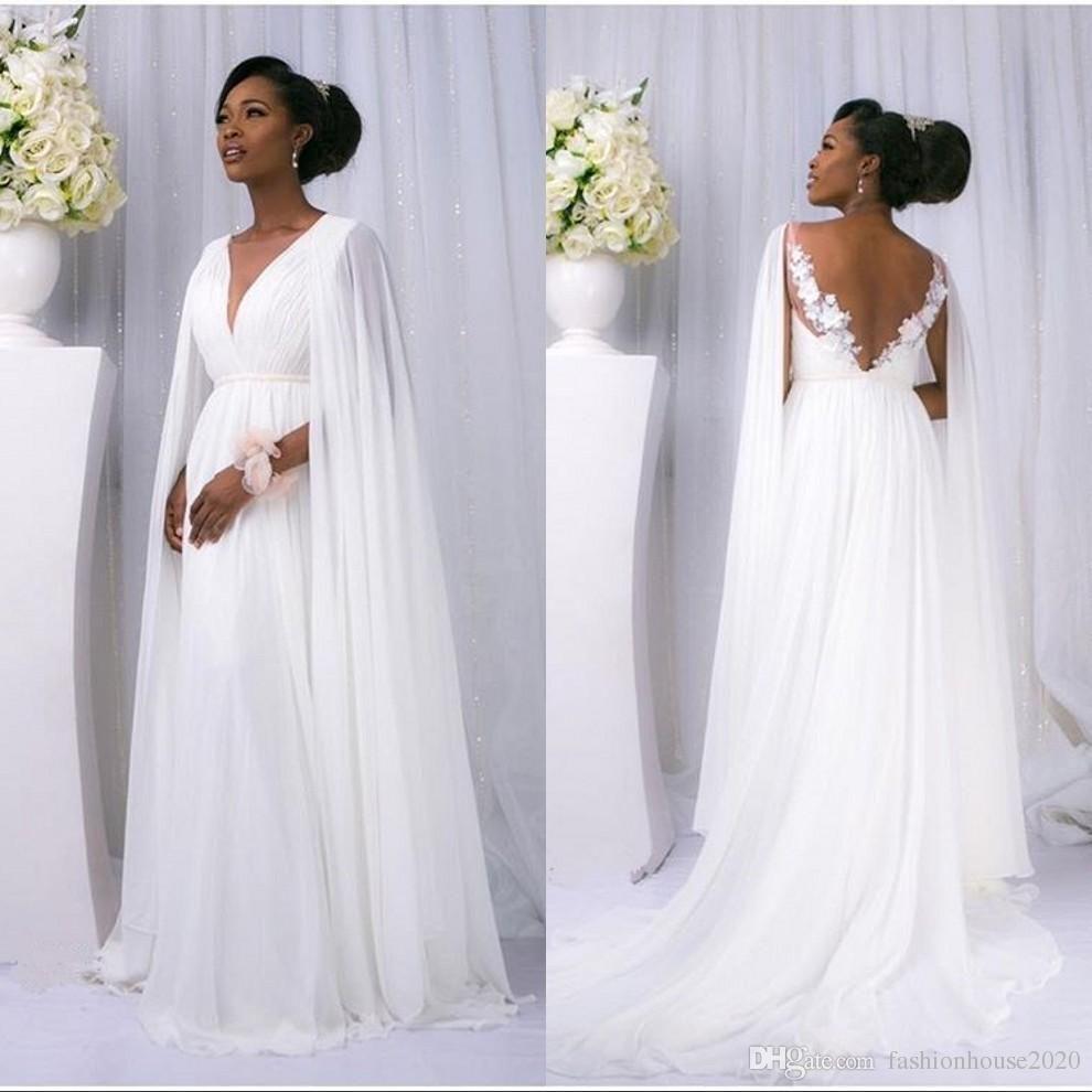 White Chiffon Beach Wedding Dresses African Style Cowl Backs Deep V ...