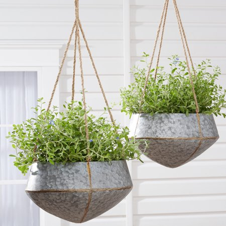 Mainstays Callery Galvanized Metal Hanging Planters Set Of Two Walmart Com Metal Hanging Planters Hanging Planters Indoor Hanging Planters