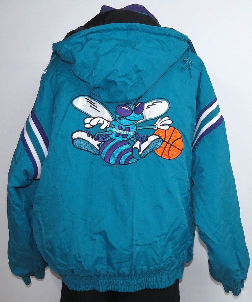 c604b330aac REVERSIBLE vtg CHARLOTTE HORNETS 90s Hoodie Winter JACKET 2XL Black Teal nba   ProPlayer  Puffer