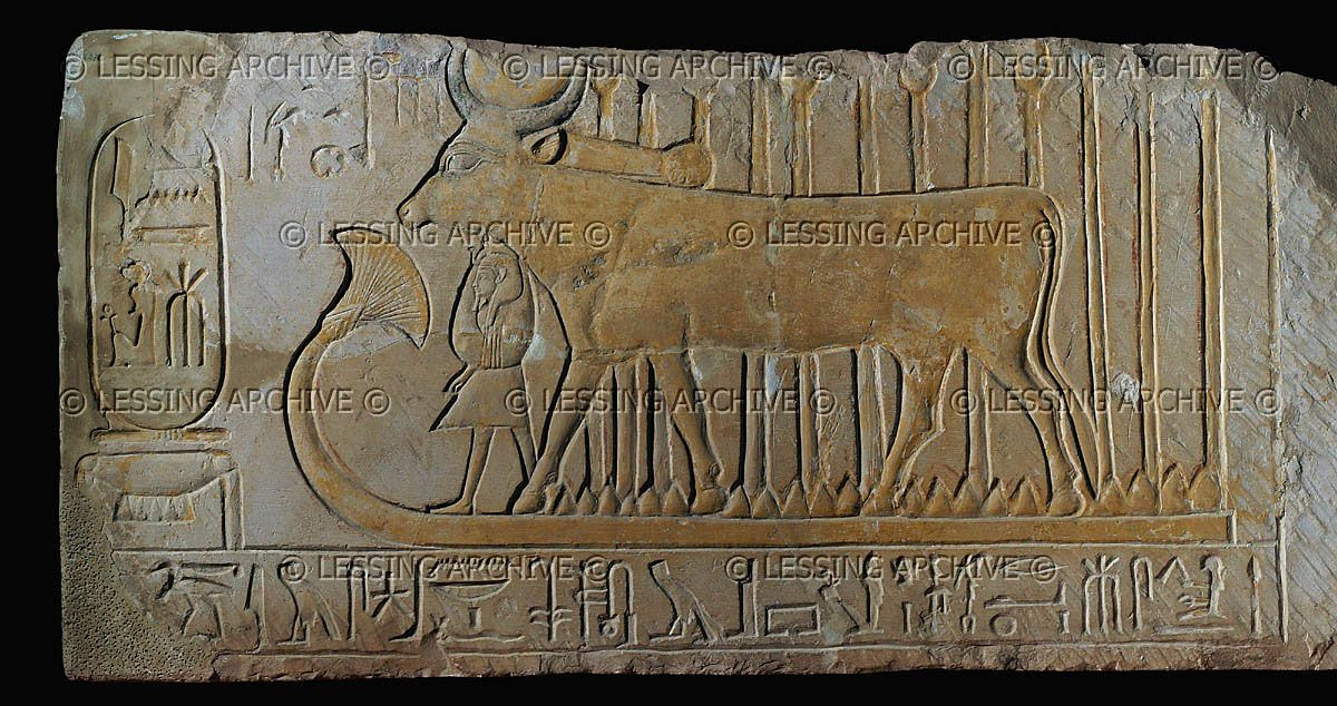 "Hathor protects Amenophis I Hathor was also known as the Neter of Motherhood, with titles such as ""The Great Cow Who Protects Her Child"