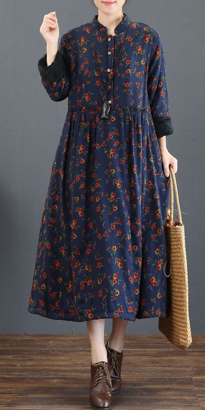 4ef39d79f2 Blue Floral Brushed Thicken Maxi Dresses For Women 5211