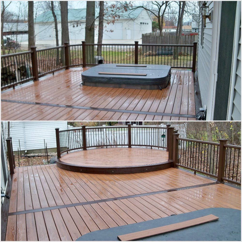 Fiberon Decking with enclosed hot tub. DeckCreator can even bend deck boards to create curved looks.