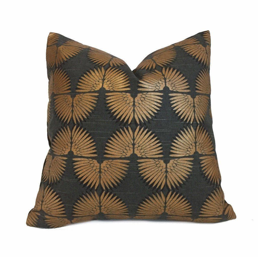Designer art deco metallic copper black cotton print pillow cover