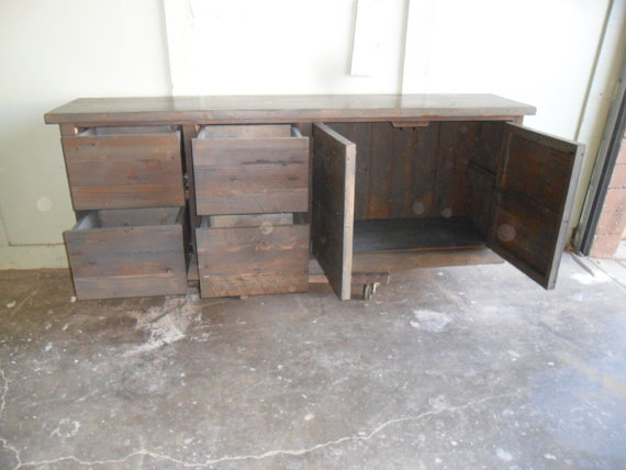 File cabinet custom made from reclaimed wood in the USA by Oldpine