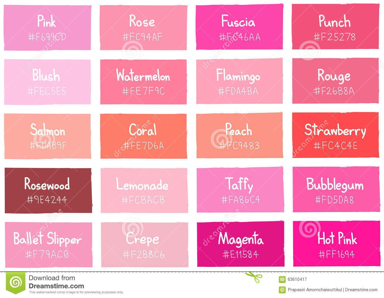 Pink Tone Color Shade Background With Code And Name Stock