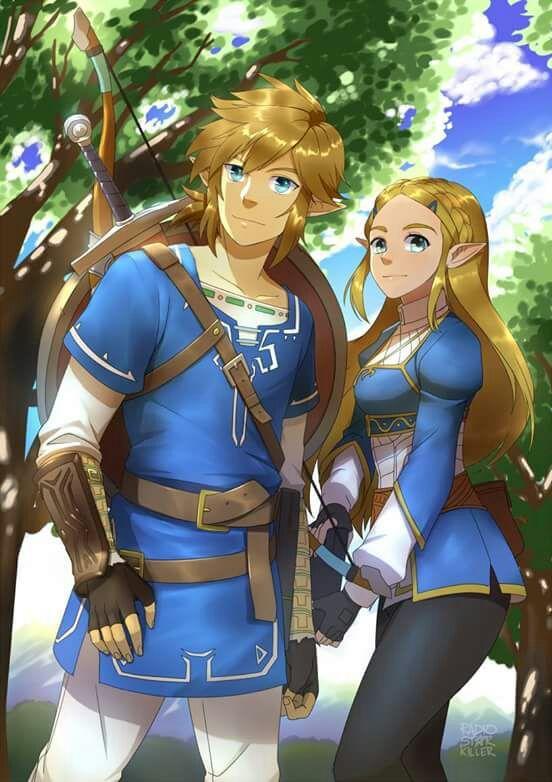 Link And Zelda Breath Of The Wild Legend Of Zelda Breath