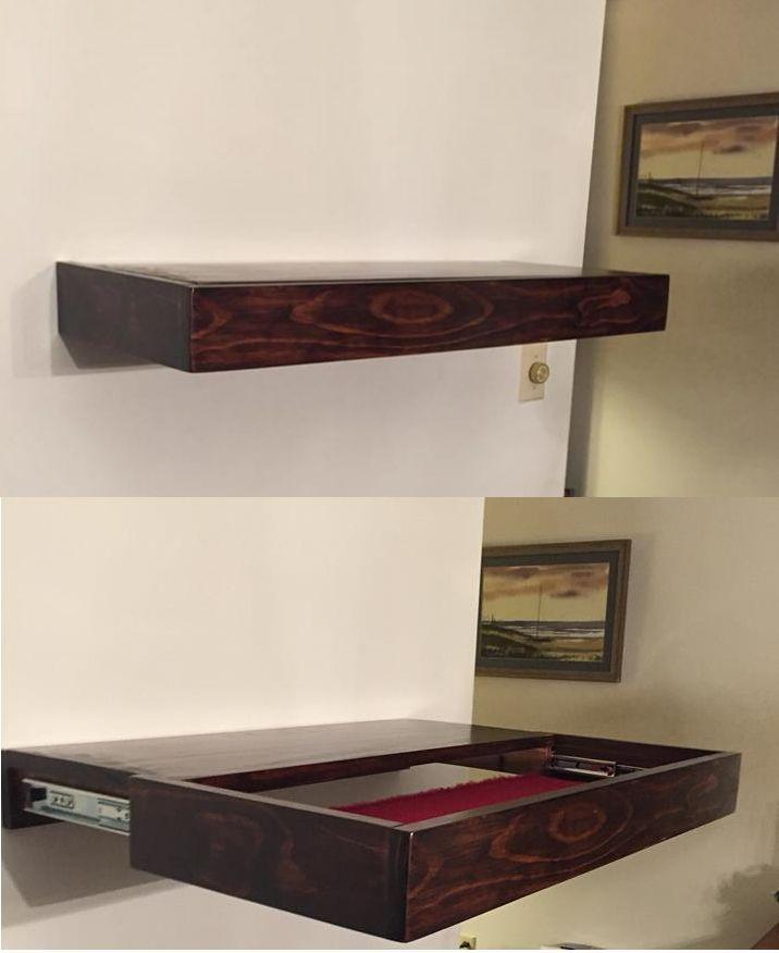 walnut floating oak originalviews stand drop perfect storage hidden down candle gun dark po framed espresso compartment secret shelf wall top for with holder furniture