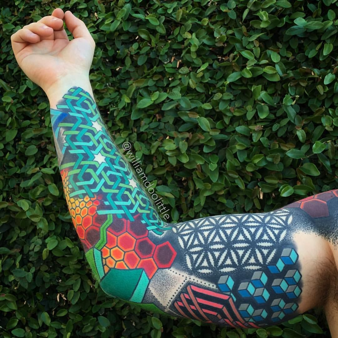 Full Color Sleeve Tattoo: The Inside Portion Of Bryan's Full Color Geometric Sleeve