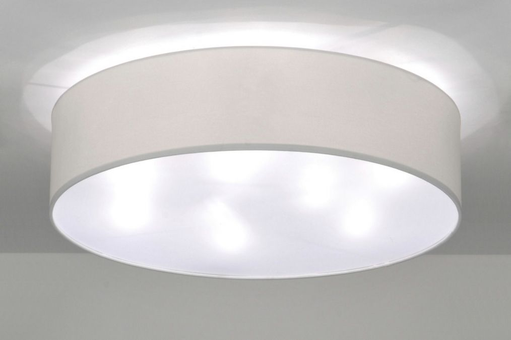 Huisdecoratie interieur verlichting . Plafondlamp ronde stoffen ...