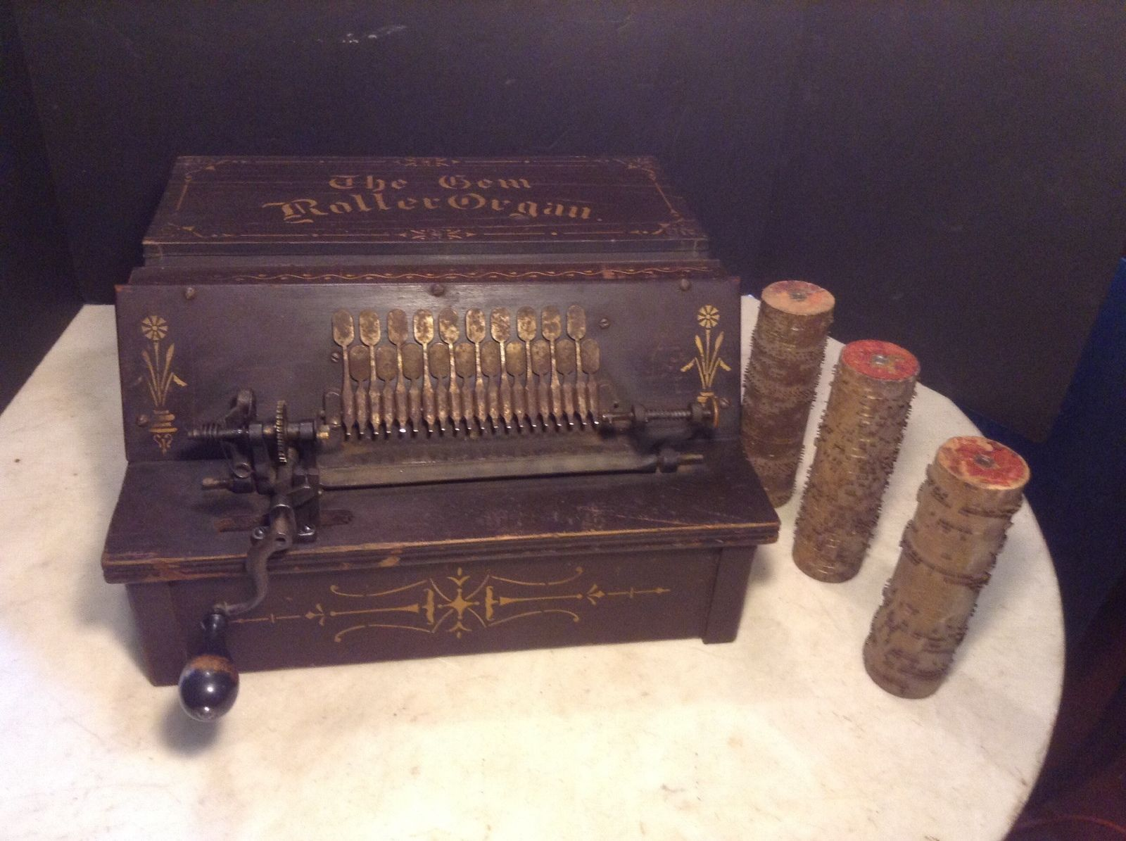 Circa 1897 Antique Gem Roller Organ Music Box Player W 3 Music