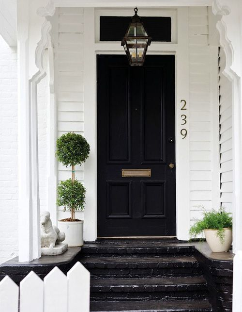 Black front door with painted brick sidewalk. & Black front door with painted brick sidewalk. | Doors and Windows ...