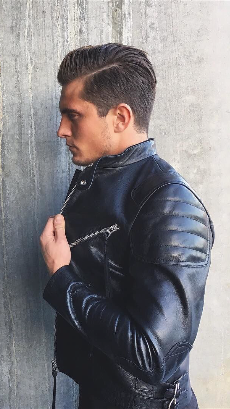 Street style haircut men dr style  mens fashion  leather jacket  total black  street