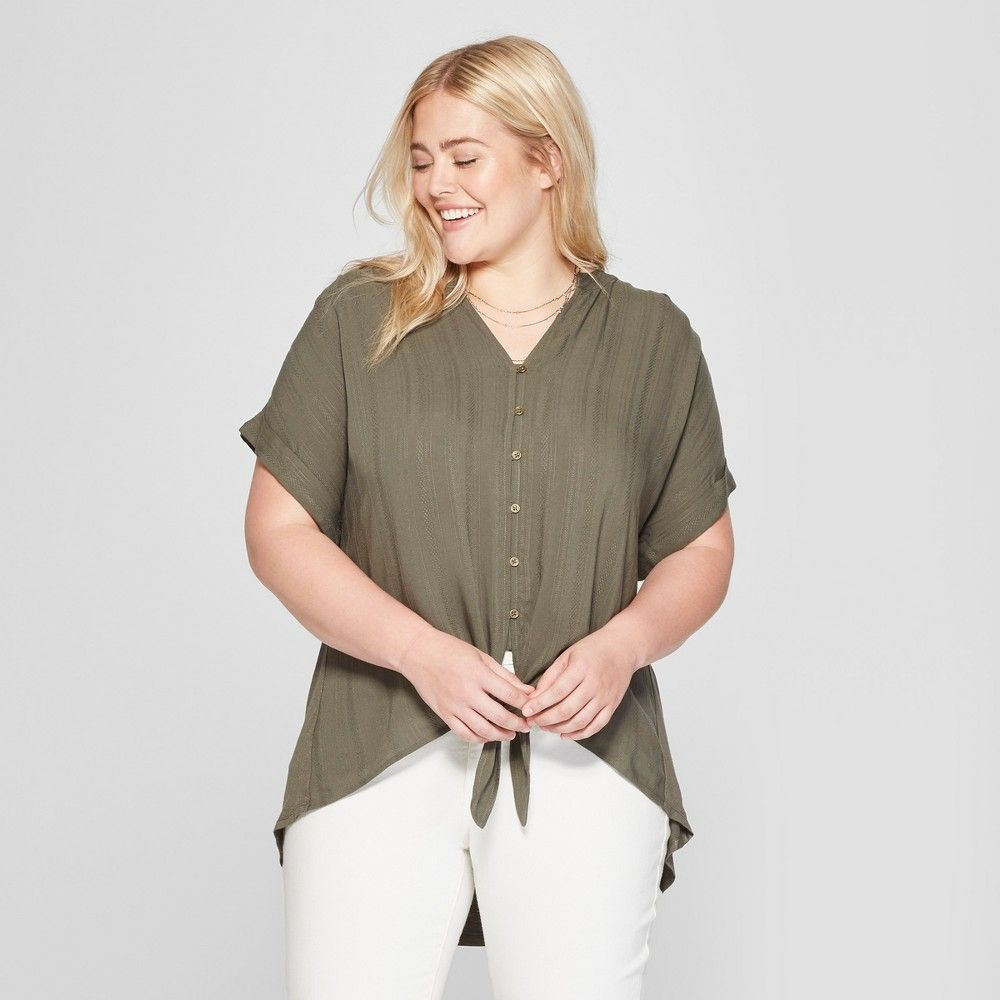 Womenus plus size tie front short sleeve blouse universal thread