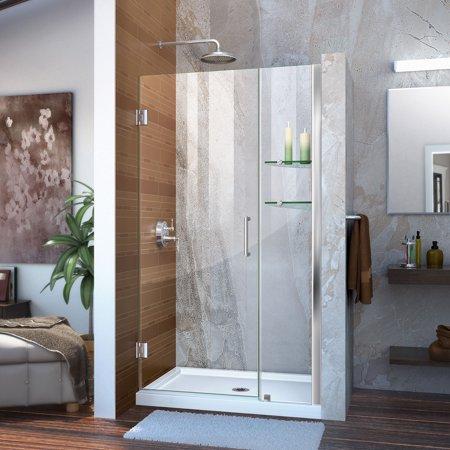 Dreamline Unidoor 41 42 In W X 72 In H Frameless Hinged Shower Door With Shelves In Chrome Shower Doors Frameless Shower Doors Frameless Shower