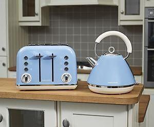 morphy richards cornflower blue kettle 4 sl toaster french blue