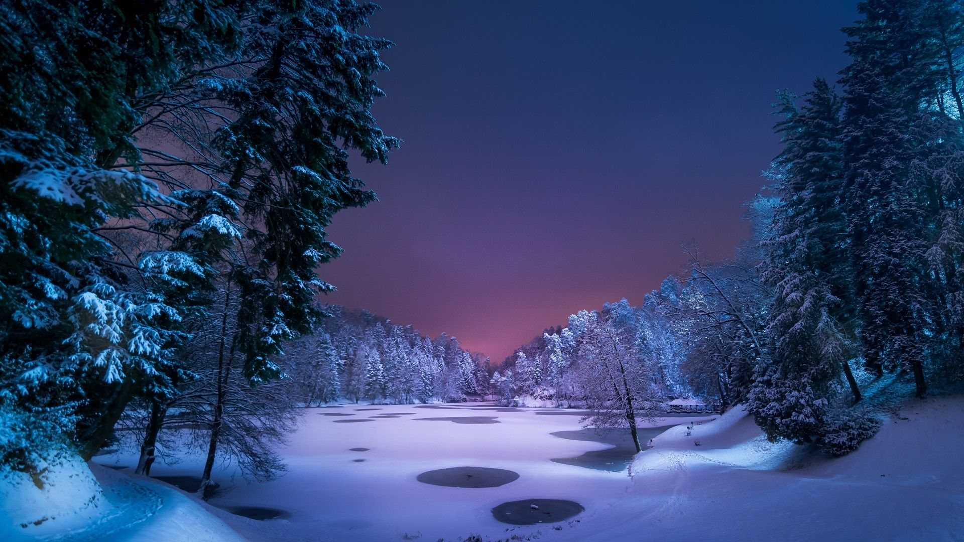 Winter Forest Night Wallpapers Picture On Wallpaper 1080p Hd Winter Landscape Winter Desktop Background Night Landscape