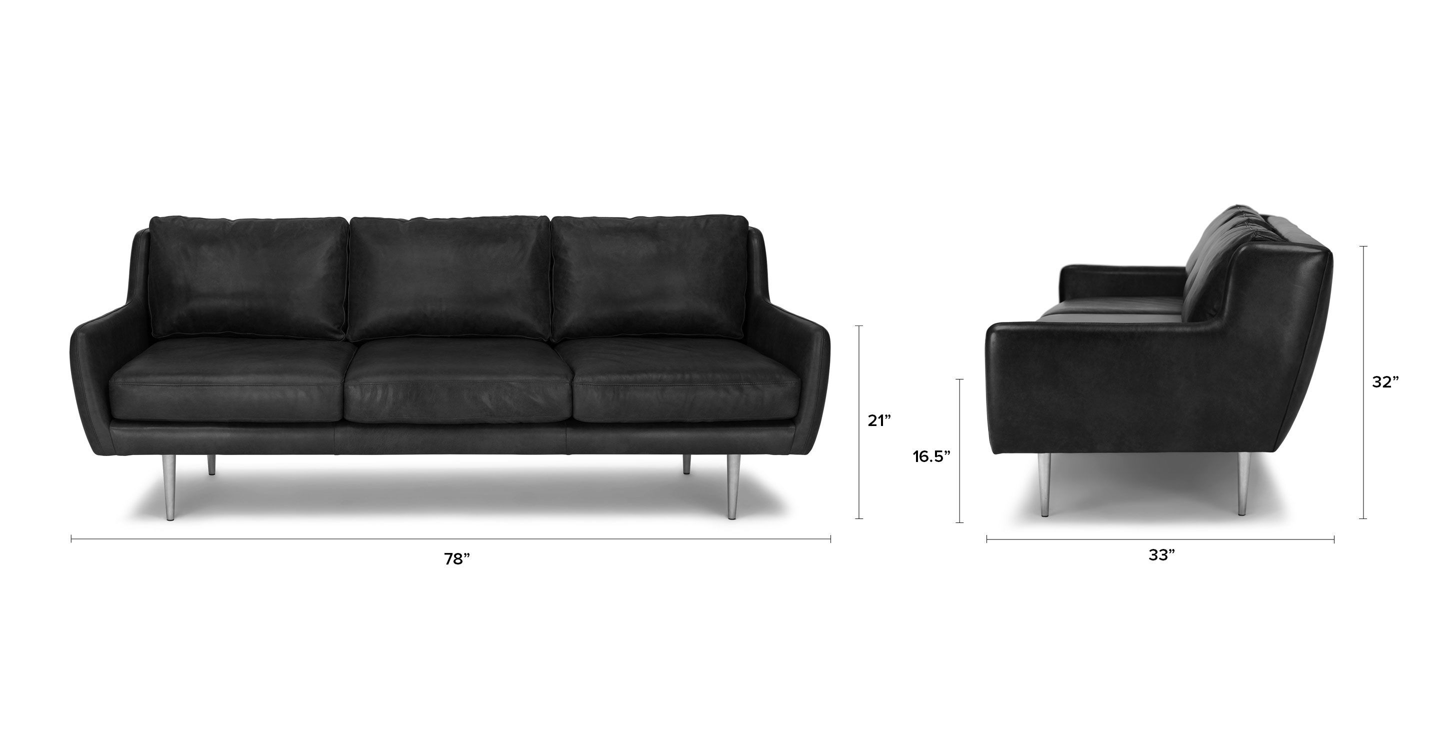 Matrix Oxford Black Sofa - Sofas - Article   Modern, Mid ...