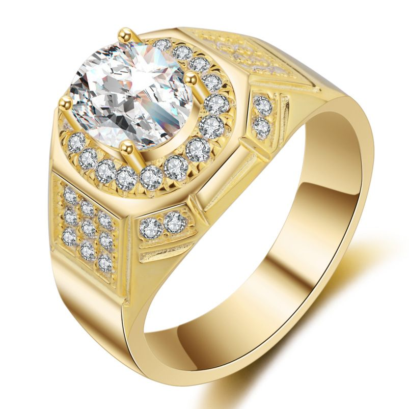 Deluxe men ring sterling silver gold color wedding Cubic Zircon ...