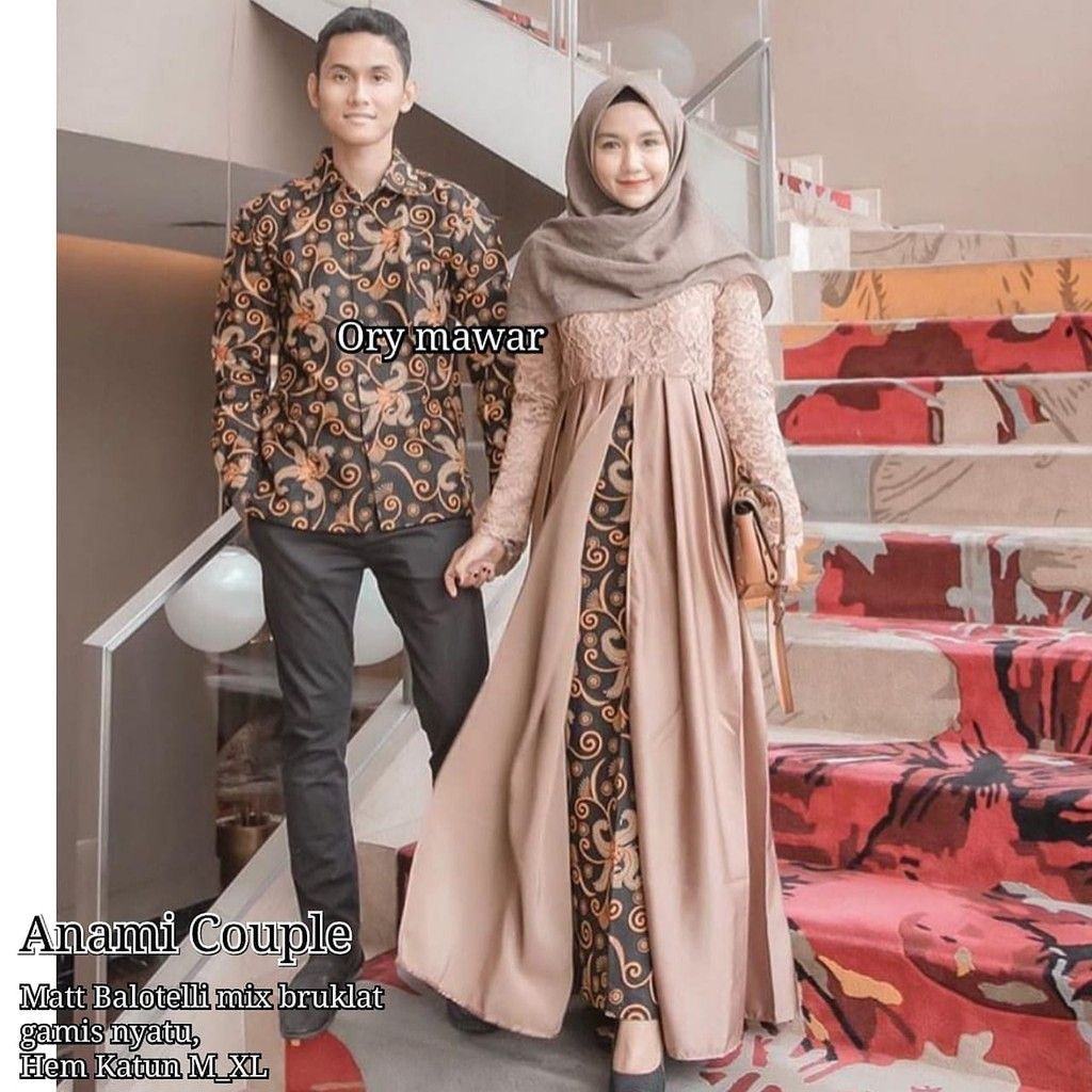 Pin di Batik Couple Gamis Brokat Lengan Panjang Anami Couple
