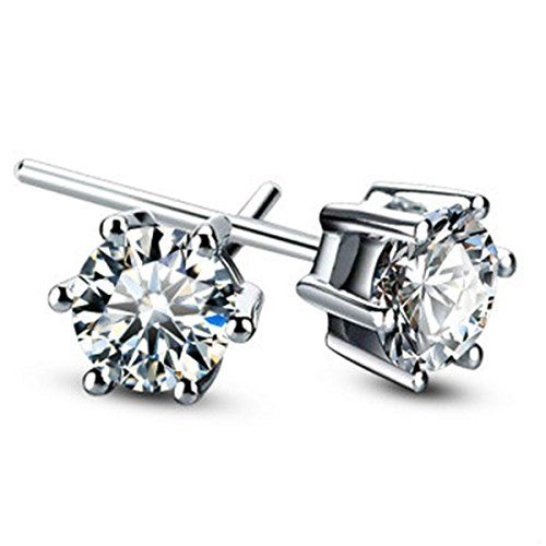 b89f439e2 Merdia S925 Sterling Silver Round Cut Cubic Zirconia Stud Earrings Jewelry  ** See this great product. Note:It is Affiliate Link to Amazon.