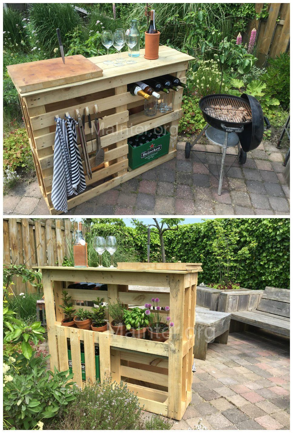 Bbq Side Table With Storage.Backyard D I Y Pallet Idea A Bbq Side Table Grill Station