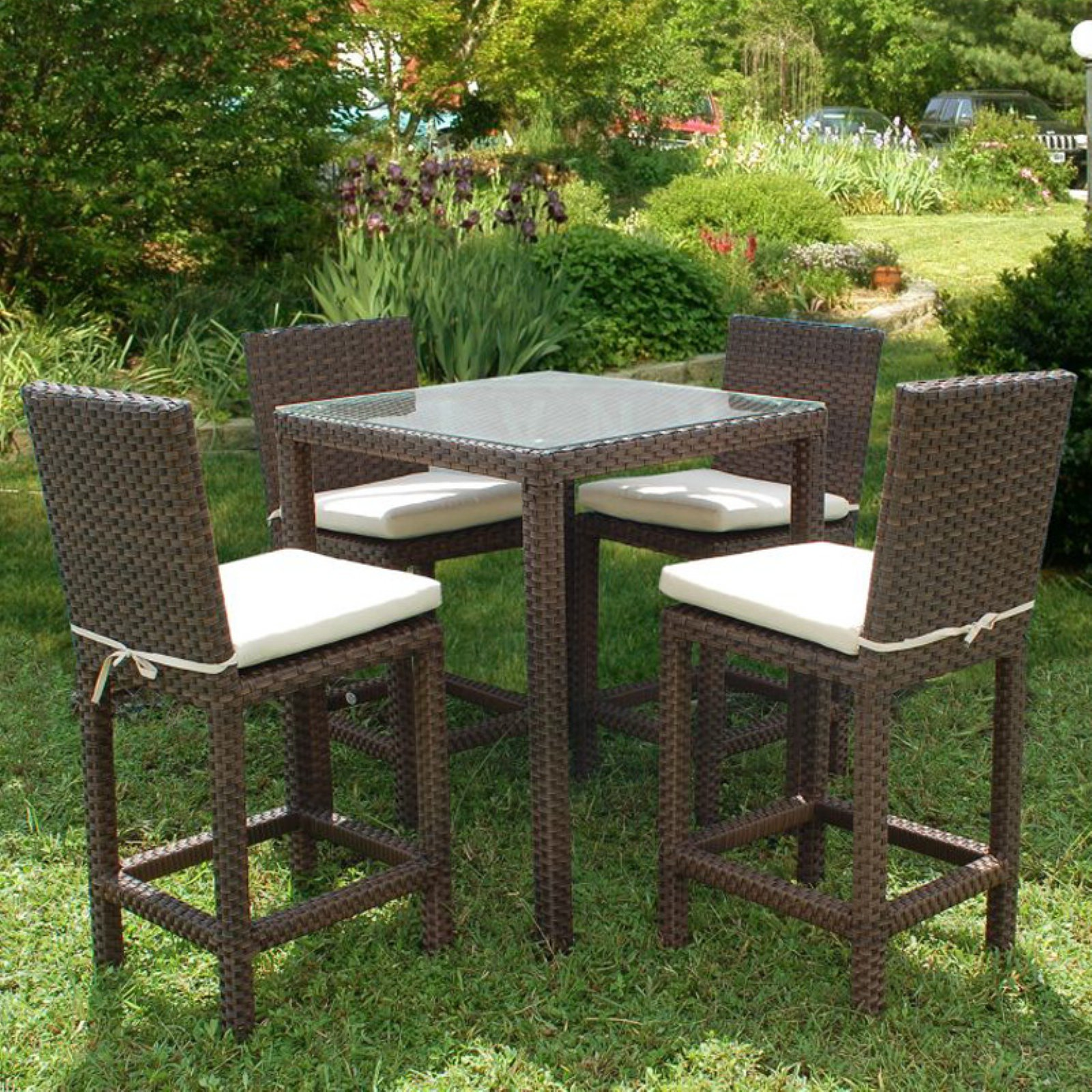 Outdoor atlantic monza square bar height all weather wicker dining set seats 4