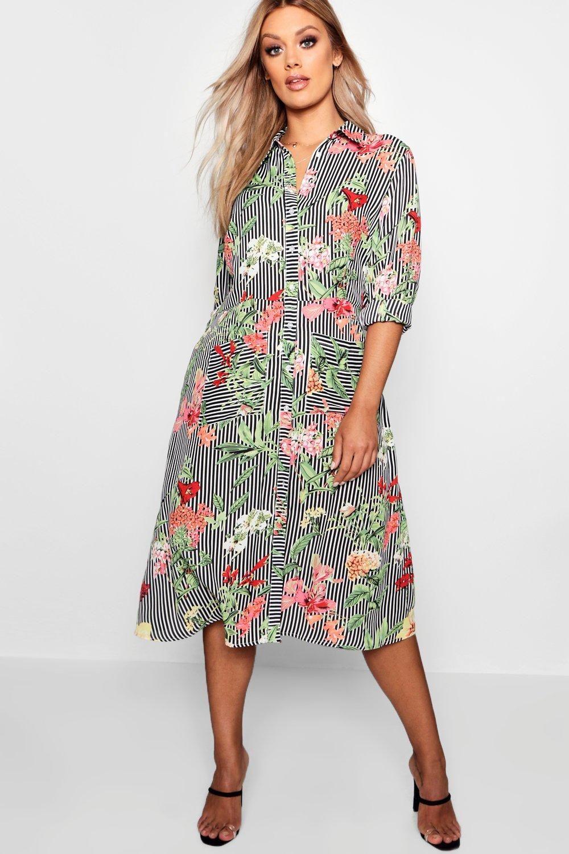 2cdde7d97a5 Plus Floral & Stripe Shirt Midi Dress in 2019   WEARS   Midi shirt ...