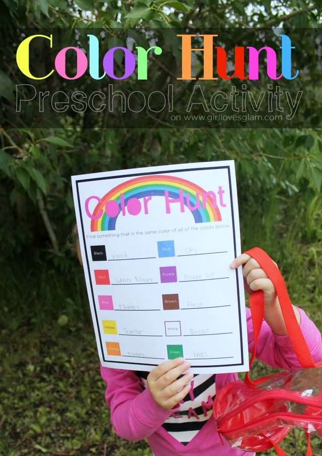 Color Hunt Outdoor Preschool Game Printable