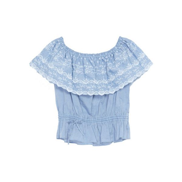 miraville スカラップオフショルBL 7,245円(税込_clipped by rainie_mine ❤ liked on Polyvore featuring tops, shirts, blouses and blue