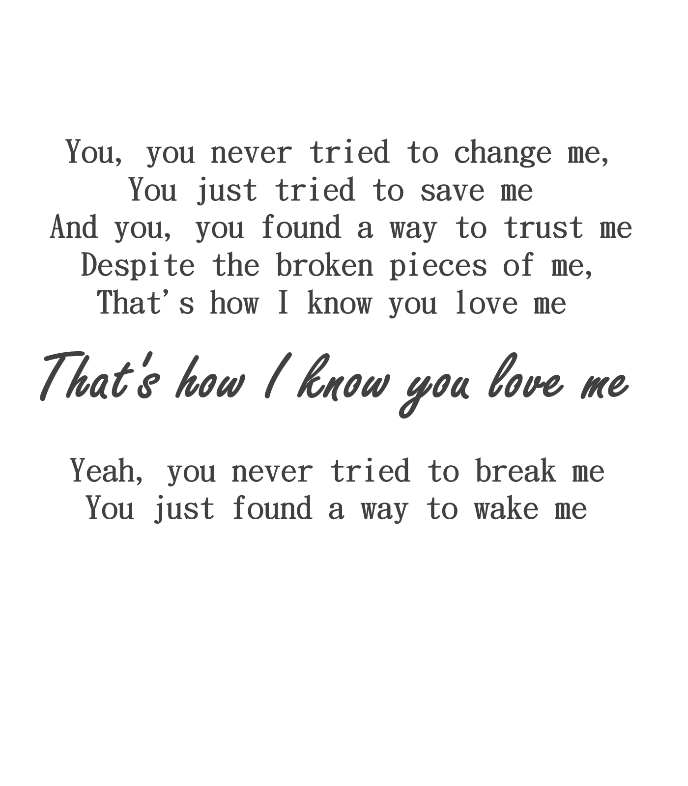 lyrics to how you love me