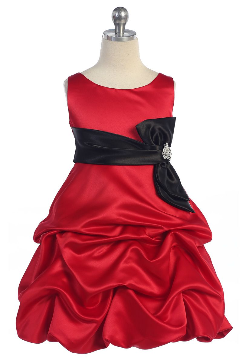 Redblack bridal satin sleeveless pickup skirt flower girl dress