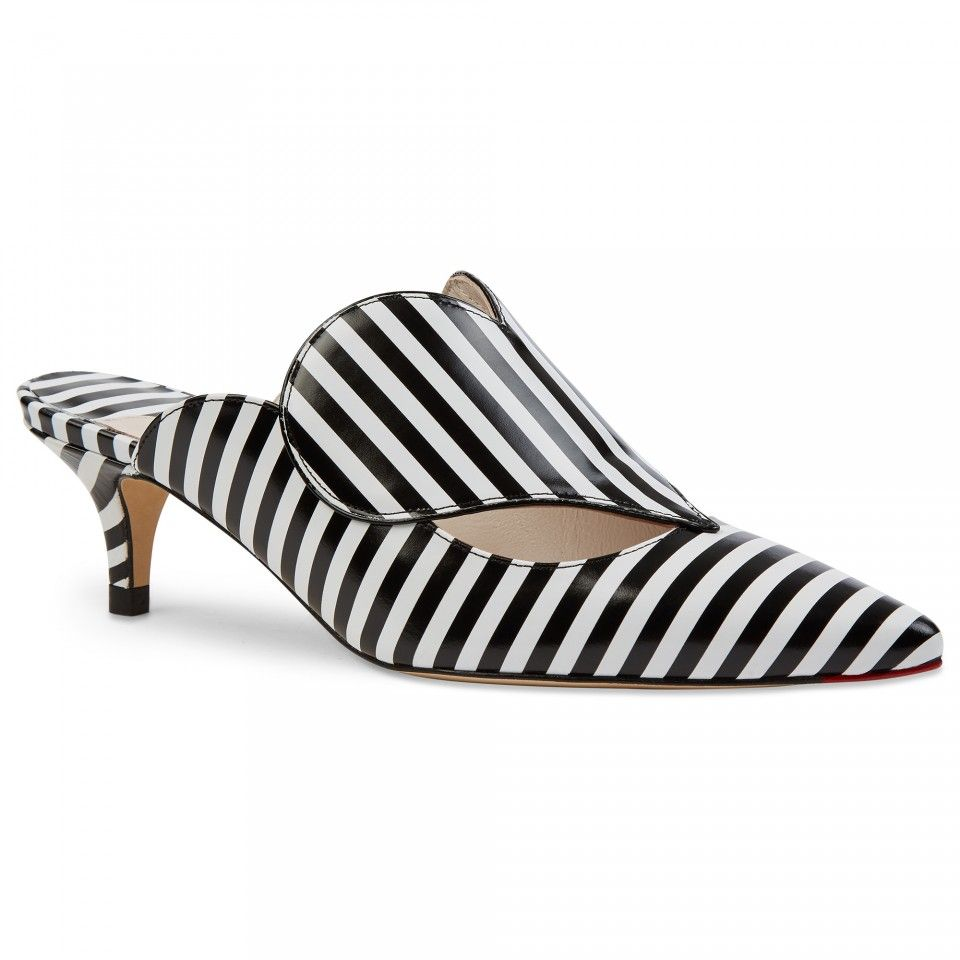 Lulu Guinness Stripe Love Heart Smooth Leather Paloma Mule In Black And White With Pointed Toe Kitten Heel And Red Lo Kitten Heels Black Kitten Heels Heels