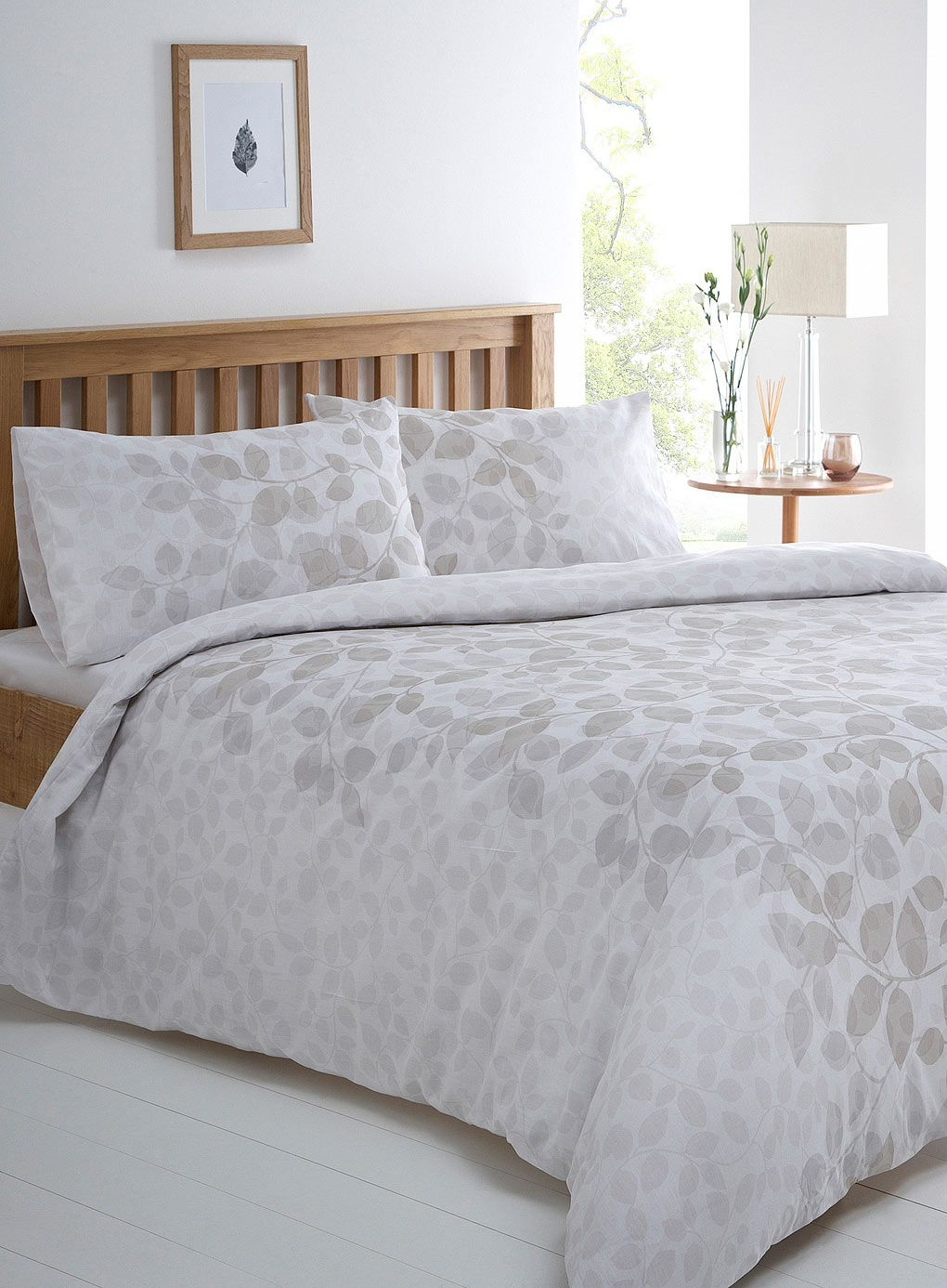 grey botannical leaf printed bedding set  bhs  winter feminine  - grey botannical leaf printed bedding set  bhs
