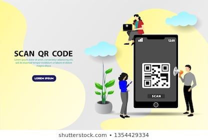 QR code scanning vector illustration concept, people use
