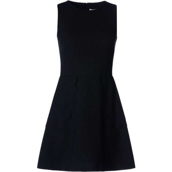 Redvalentino Scallop Detail Dress found on Polyvore featuring dresses, short dresses, black, skater skirt, black skater skirt, laser cut dress, black circle skirt and kohl dresses