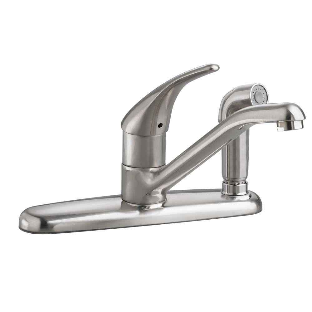 American Standard Colony Soft Single Handle Standard Kitchen Faucet With Escutcheon Fixed Side Sprayer In St With Images Kitchen Faucet Single Handle Kitchen Faucet Faucet