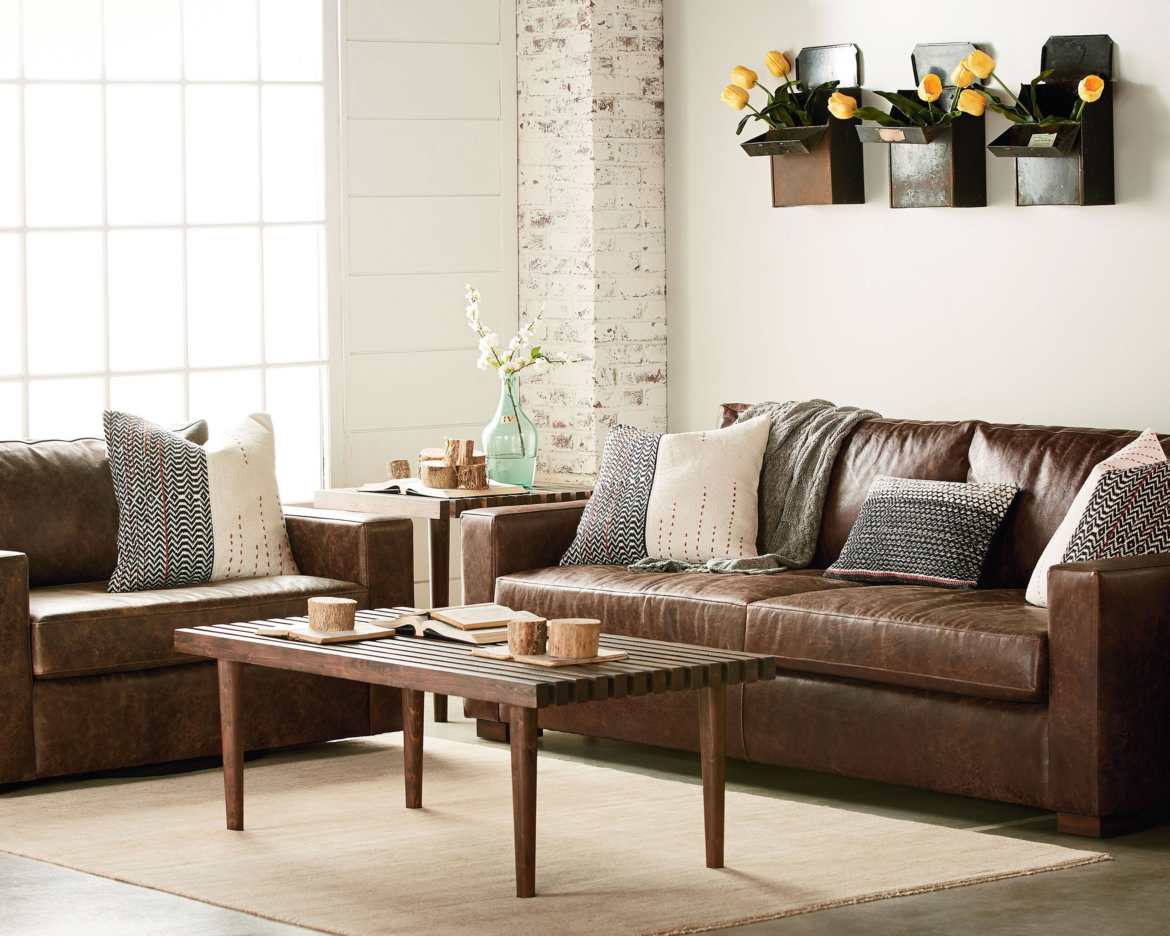 Southern Sown Cocoa Leather Living Room - Magnolia Home | Craftsman ...