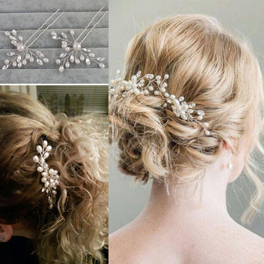 silver wedding bridal pearl flower crystal hair pins