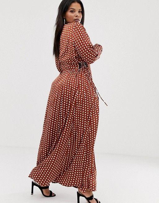 detailing men/man marketable Glamorous Curve maxi wrap dress with tie waist in polka dot ...
