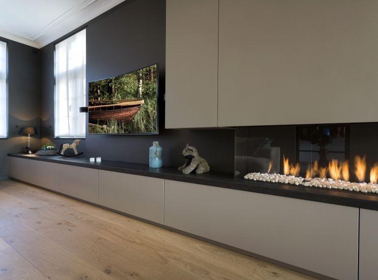 Гостиная с камином и телевизором (55 фото): как разместить в ... | 572x770