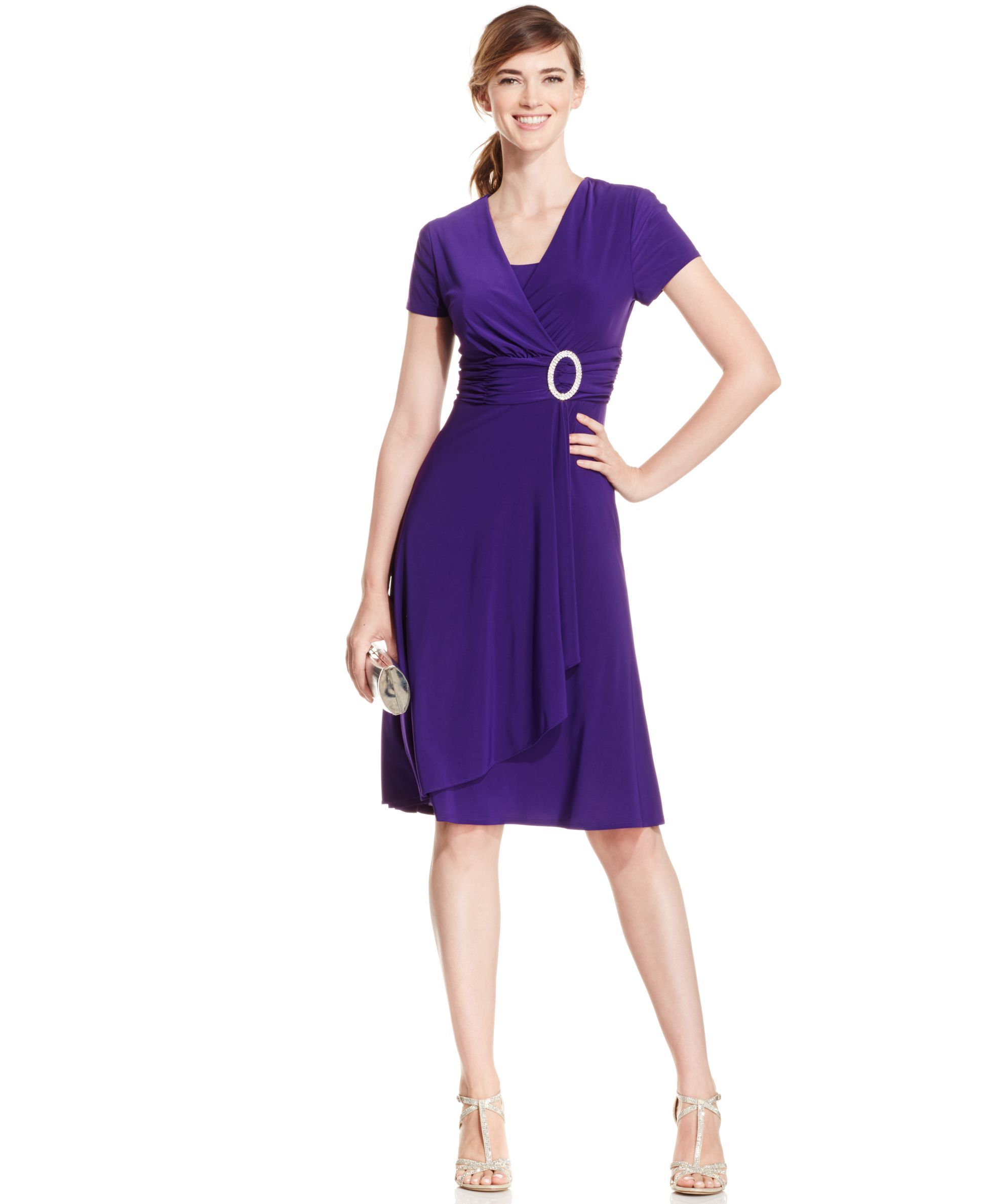 R&M Richards Short-Sleeve Faux-Wrap Dress   Products   Pinterest