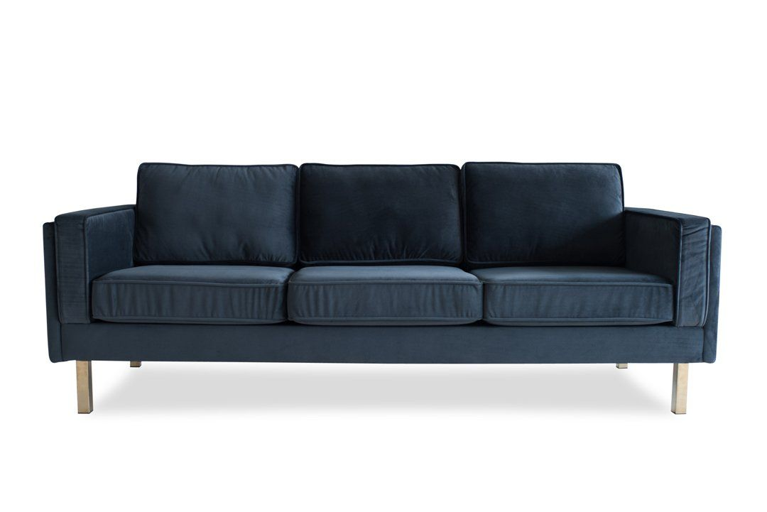 Lexington Velvet Sofa Grey Edloe Finch Furniture Co