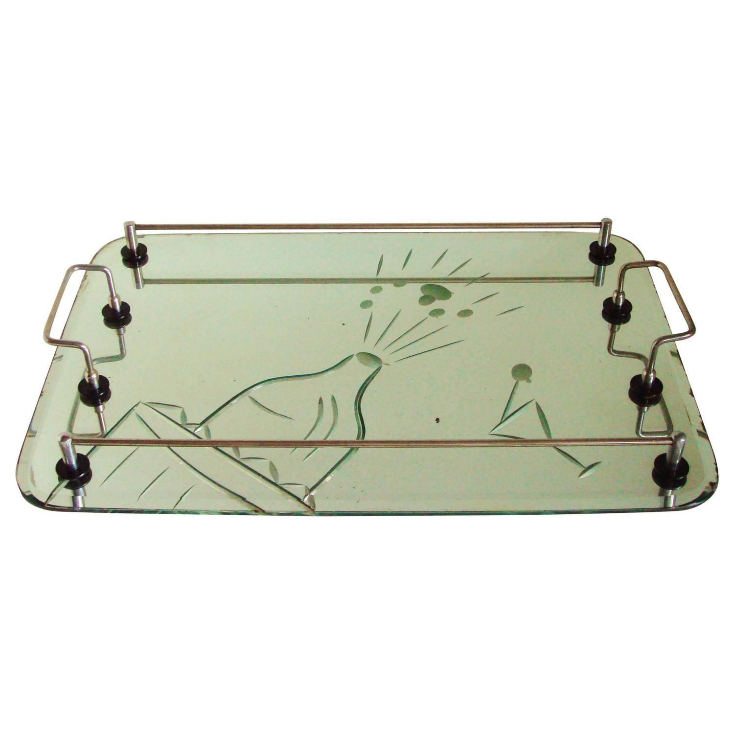 Australian Art Deco Etched and Bevelled Mirror Cocktail Tray with Chrome Gallery | From a unique collection of antique and modern barware at https://www.1stdibs.com/furniture/dining-entertaining/barware/