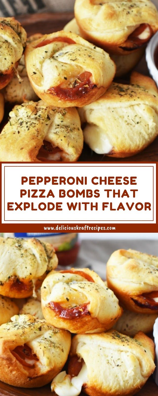 PEPPERONI CHEESE PIZZA BOMBS THAT EXPLODE WITH FLAVOR #cheesepizza