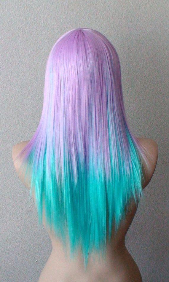 Pastel Lavender Blue Color Wig Straight Hair Long By Kekeshop Hair Styles Long Hair Styles Cool Hair Color