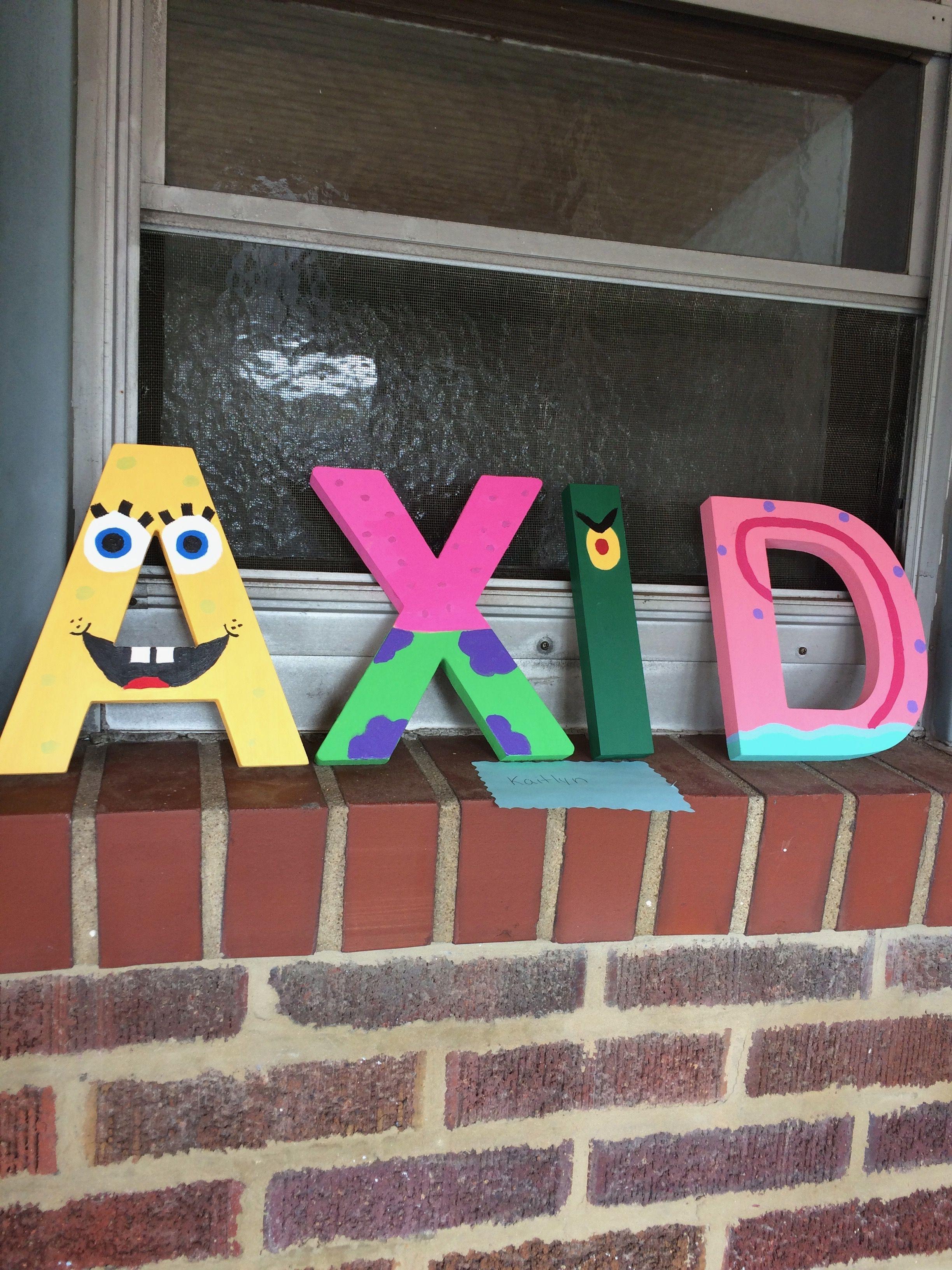 Alpha Xi Delta Spongebob Themed Wooden Letters Little
